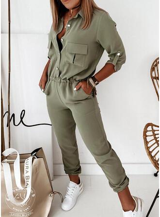 Einfarbig Hemdkragen 3/4 Ärmel Lässige Kleidung Elegant Overall