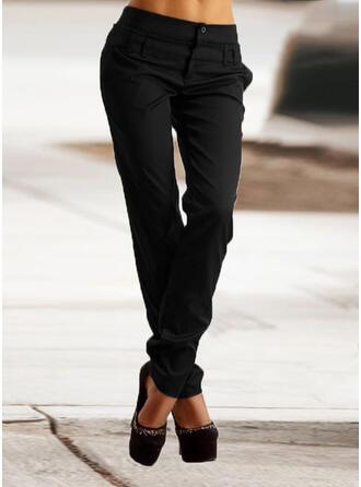 Einfarbig Geometrisch Shirred Übergröße Lange Elegant Dünn Einfach Hosen