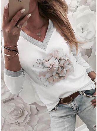 Blumen Druck V-Ausschnitt Lange Ärmel T-Shirts
