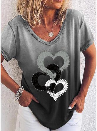 Gradient Herz Druck V-Ausschnitt Kurze Ärmel T-Shirts
