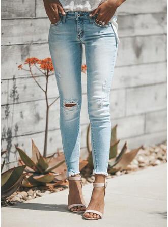 Shirred Übergröße Zerrissen Elegant Sexy Denim Jeans