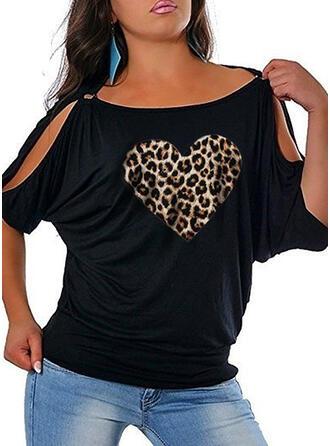 Leopard Druck Herz Rundhalsausschnitt 1/2 Ärmel Lässige Kleidung Große Größen Blusen