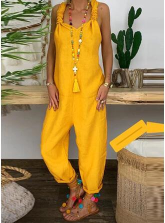 Einfarbig Träger Ärmellos Lässige Kleidung Overall