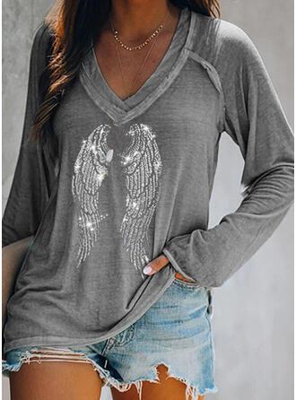 Pailletten V-Ausschnitt Lange Ärmel T-Shirts