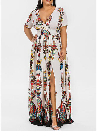 Große Größen Blumen Druck Kurze Ärmel A-Linien-Kleid Maxi Boho Party Urlaub Kleid