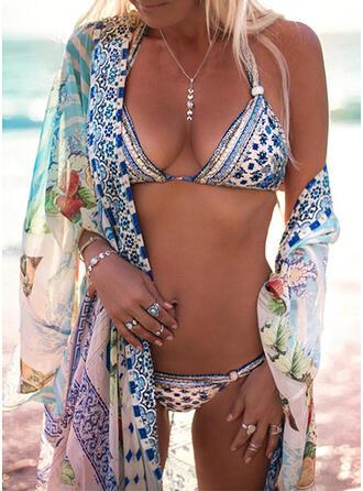 Niedrig Tailliert Drucken Neckholder Sexy Bohemien Bikinis Bademode