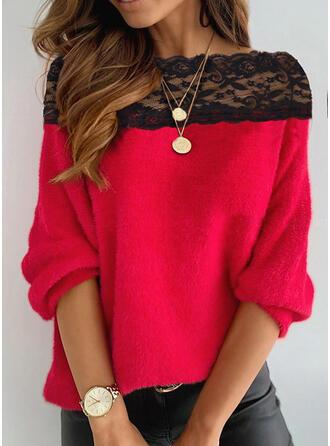 Spitze Rundhalsausschnitt Freizeit Pullover