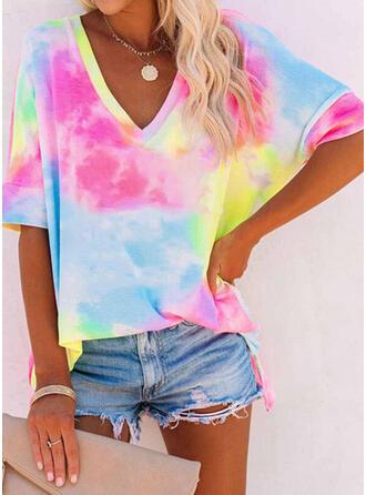 Tie Dye V-Ausschnitt 1/2 Ärmel T-Shirts