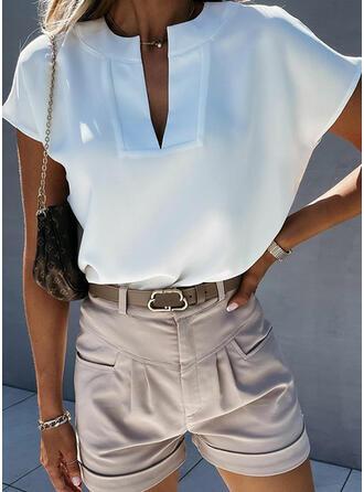 Einfarbig V-Ausschnitt Kurze Ärmel Freizeit Basic Blusen