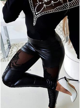 Einfarbig Spitze Geometrisch Sexy Jahrgang Hosen Gamaschen