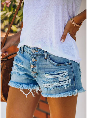 Taschen Shirred Zerrissen Lässige Kleidung Sexy Kurze Hose Denim Jeans