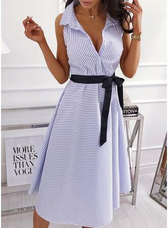 Gestreift Ärmellos A-Linien Hemd Freizeit/Elegant Midi Kleider