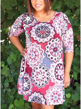 Große Größen Druck 1/2 Ärmel Etuikleider Über dem Knie Lässige Kleidung Urlaub Kleid