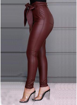 Geometrisch Übergröße Bowknot Lange Elegant Sexy Leder Hosen