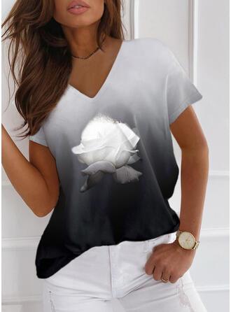 Blumen Gradient Druck V-Ausschnitt Kurze Ärmel T-Shirts