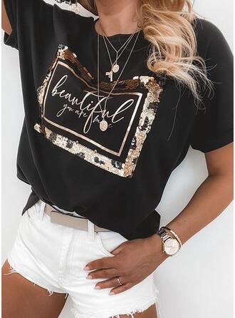 Druck Pailletten Buchstaben Rundhalsausschnitt Kurze Ärmel T-Shirts