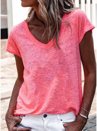 Einfarbig V-Ausschnitt Kurze Ärmel T-Shirts