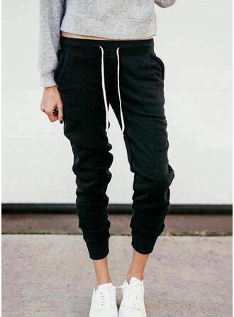 Shirred Kordelzug Lange Lässige Kleidung Sportlich Einfach Hosen