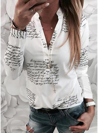 Drucken Buchstaben V-Ausschnitt Lange Ärmel Mit Knöpfen Freizeit Hemdblusen