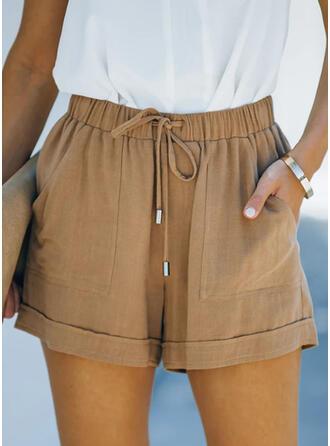 Einfarbig Lässige Kleidung Jahrgang Kurze Hose
