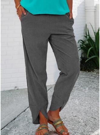 Einfarbig Shirred Lässige Kleidung Jahrgang Lounge Pants
