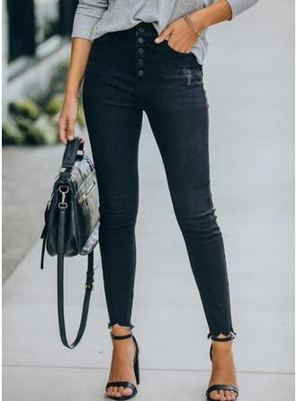 Einfarbig Shirred Sexy Jahrgang Denim Jeans