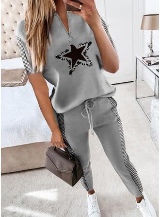 Druck Übergröße Kordelzug Lässige Kleidung Sportlich Anzüge