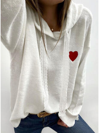 Stickerei Spitze Herz Mit Kapuze Freizeit Pullover