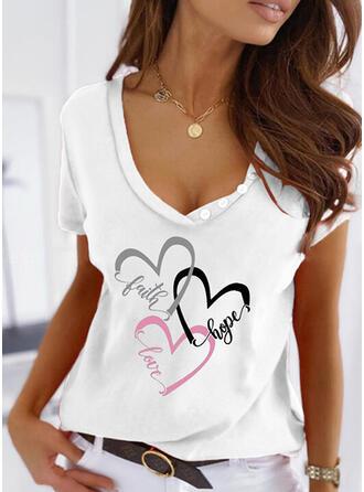 Herz Druck Buchstaben V-Ausschnitt Kurze Ärmel T-Shirts