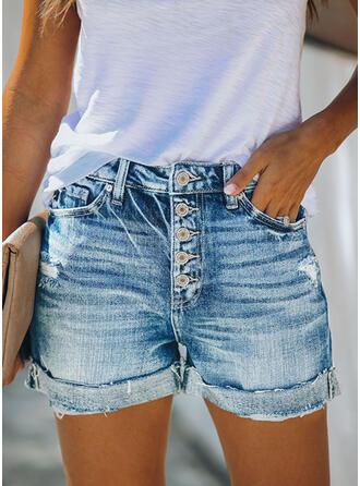 Taschen Shirred Übergröße Lässige Kleidung Sexy Baumwollstoff Kurze Hose Denim Jeans