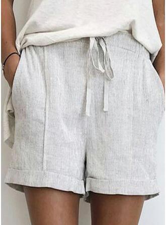 Einfarbig Kordelzug Lässige Kleidung Einfach Kurze Hose