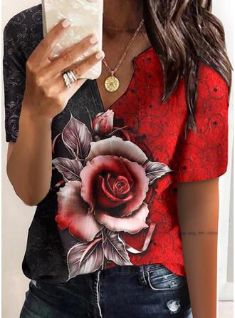 Farbblock Blumen Druck V-Ausschnitt Kurze Ärmel T-Shirts