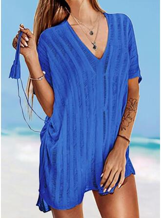 Einfarbig V-Ausschnitt Elegant Modisch Lässige Kleidung Strandmode Bademode