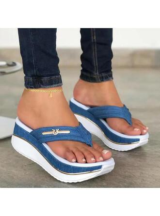 Frauen PU Keil Absatz Sandalen Plateauschuh Keile Peep Toe Flip Flops Pantoffel Heels mit Hohl-out Spleißfarbe Schuhe