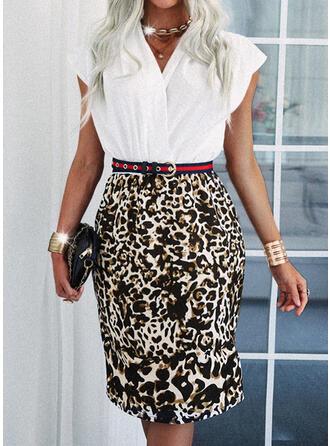 Leopard Kurze Ärmel Etui Knielang Elegant Kleider