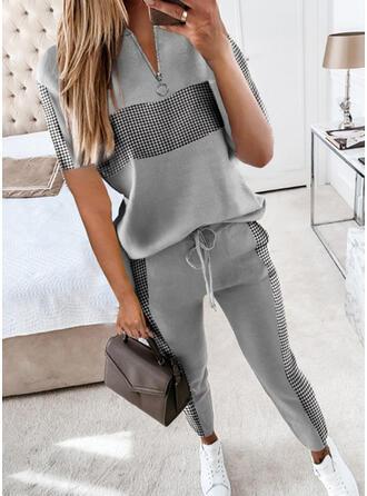 Geometrisch Übergröße Kordelzug Lässige Kleidung Sportlich Anzüge
