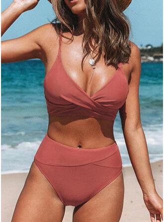 Einfarbig Hochtailliert Träger V-Ausschnitt Sexy Vintage Frisch Bikinis Bademode