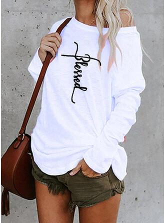 Druck Buchstaben Rundhalsausschnitt Lange Ärmel T-Shirts