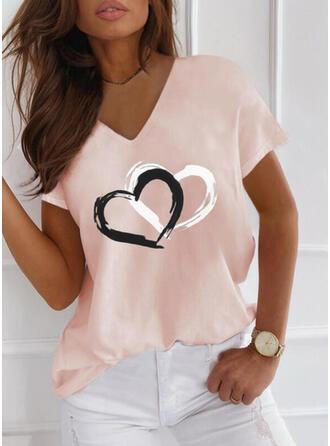 Herz Druck V-Ausschnitt Kurze Ärmel T-Shirts
