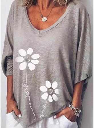 Blumen Druck Buchstaben V-Ausschnitt Lange Ärmel T-Shirts