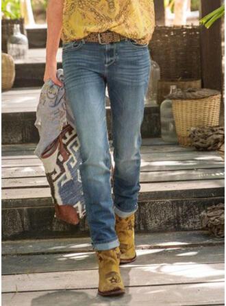 Taschen Shirred Übergröße Lässige Kleidung Stammes Denim Jeans