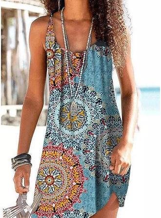 Drucken Spleiß Farbe Träger U-Ausschnitt Vintage Boho Strandmode Bademode