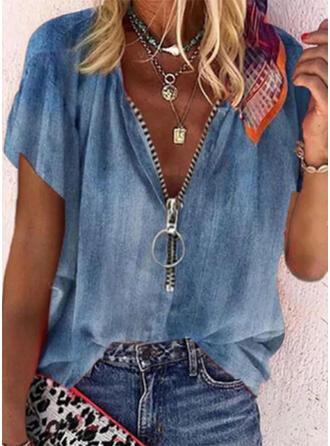 Einfarbig Baumwollstoff V-Ausschnitt Kurze Ärmel Lässige Kleidung Blusen