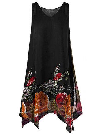 Große Größen Blumen Druck Ärmellos Etuikleider Knielang Lässige Kleidung Elegant Kleid