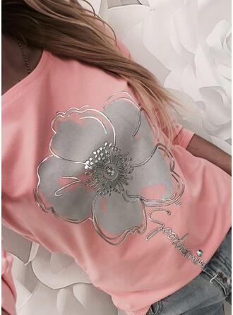 Drucken Blumen Buchstaben Rundhalsausschnitt Lange Ärmel Freizeit T-shirts