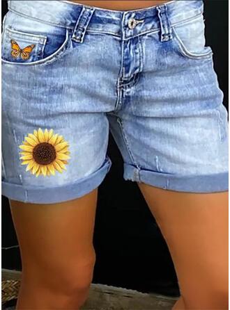Druck Taschen Shirred Übergröße Lässige Kleidung Sexy Blumen Baumwollstoff Kurze Hose