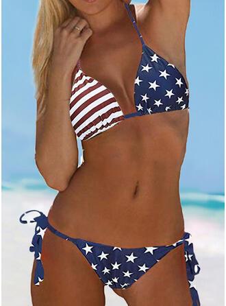 Flagge Verknotet Neckholder V-Ausschnitt Sexy Lässige Kleidung Bikinis Bademode
