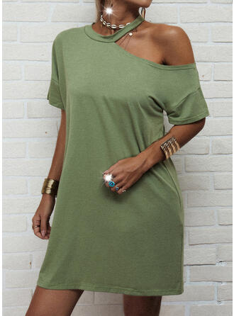 Einfarbig Kurze Ärmel Shift Über dem Knie Freizeit Tunika Kleider