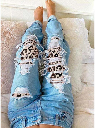 Übergröße Zerrissen Leopard Stammes Jahrgang Denim Jeans