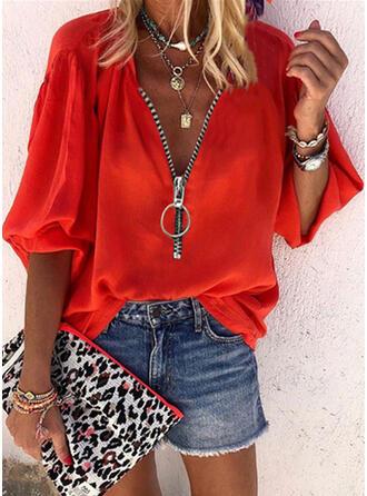 Einfarbig V-Ausschnitt 3/4 Ärmel Lässige Kleidung Blusen